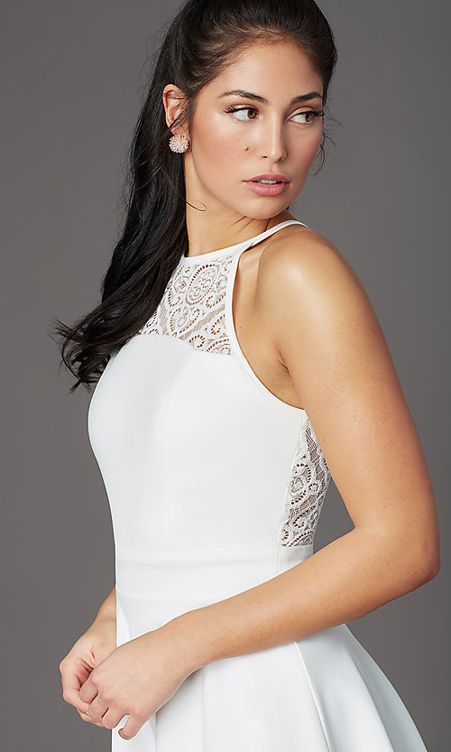Image of ivory white short graduation party dress with lace. Style: EM-HAJ-4161-120 Detail Image 1