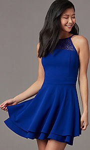 Image of royal blue short party dress with tiered skirt. Style: EM-HAJ-4161-420 Detail Image 1