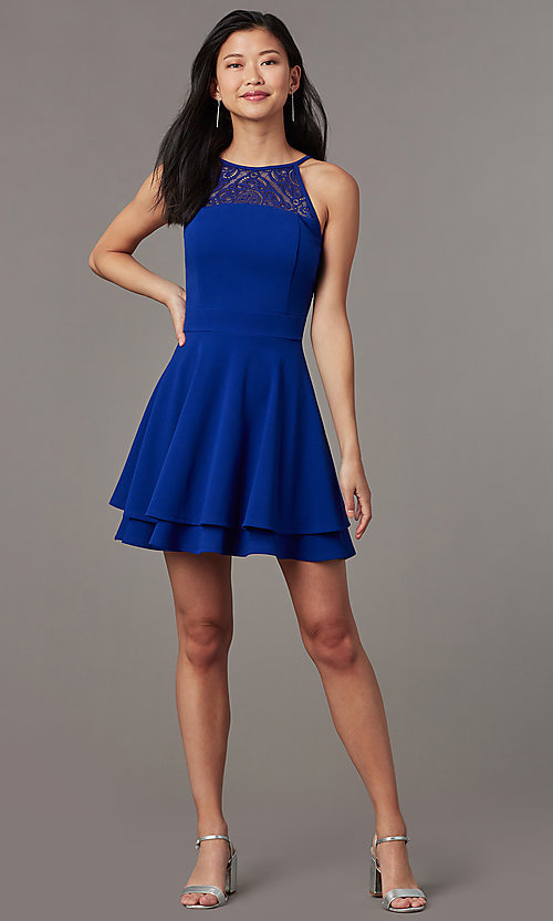 Image of royal blue short party dress with tiered skirt. Style: EM-HAJ-4161-420 Front Image