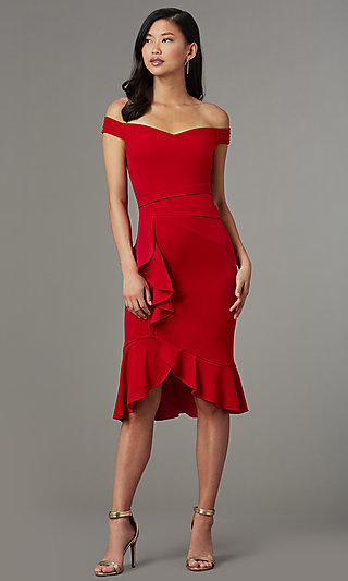 b66072f6a68 Knee-Length Red Off-Shoulder Wedding-Guest Dress
