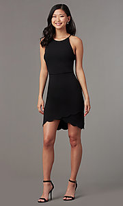 Image of simple little black party dress with high neckline. Style: EM-HJM-3405-001 Front Image