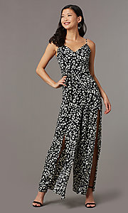 Image of floral-print party jumpsuit with front slits. Style: EM-CVQ-4159-006 Front Image