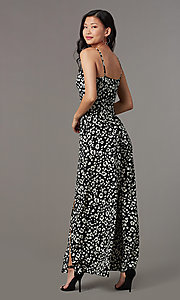 Image of floral-print party jumpsuit with front slits. Style: EM-CVQ-4159-006 Back Image