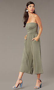 Image of strapless cropped-leg party jumpsuit in moss green. Style: EM-CUA-1189-319 Front Image