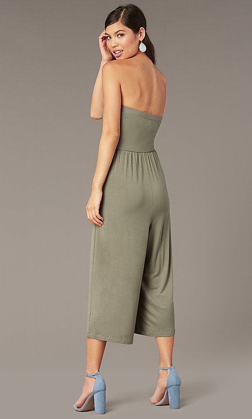 Image of strapless cropped-leg party jumpsuit in moss green. Style: EM-CUA-1189-319 Back Image