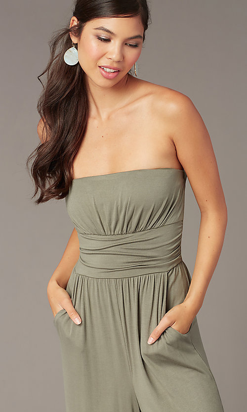 Image of strapless cropped-leg party jumpsuit in moss green. Style: EM-CUA-1189-319 Detail Image 1