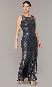Image of metallic lace long mother-of-the-bride dress. Style: IT-7112160 Front Image