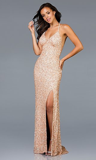 Long Sequin Sleeveless Formal Gown with a Train
