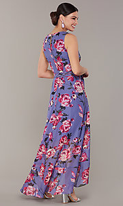 Image of floral-print high-low lilac wedding-guest dress. Style: IT-9171259 Back Image