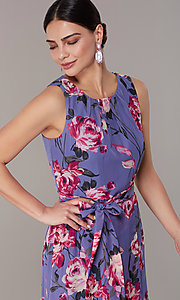 Image of floral-print high-low lilac wedding-guest dress. Style: IT-9171259 Detail Image 1