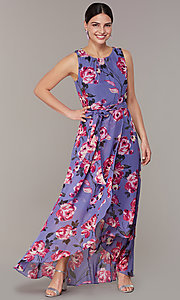 Image of floral-print high-low lilac wedding-guest dress. Style: IT-9171259 Detail Image 2