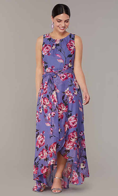 Image of floral-print high-low lilac wedding-guest dress. Style: IT-9171259 Front Image