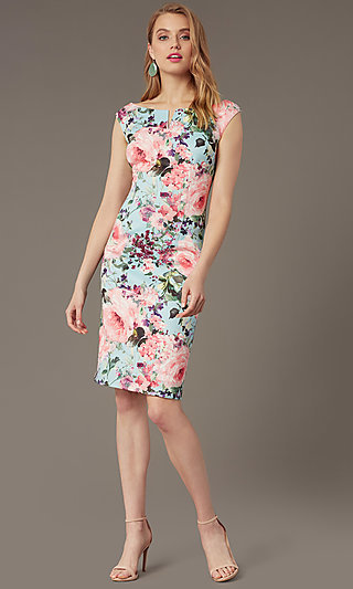 Bateau-Neck Short Print Sheath Wedding-Guest Dress