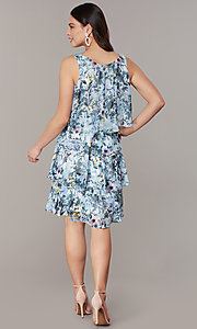 Image of tiered short blue print shift wedding-guest dress. Style: IT-9171303 Detail Image 3
