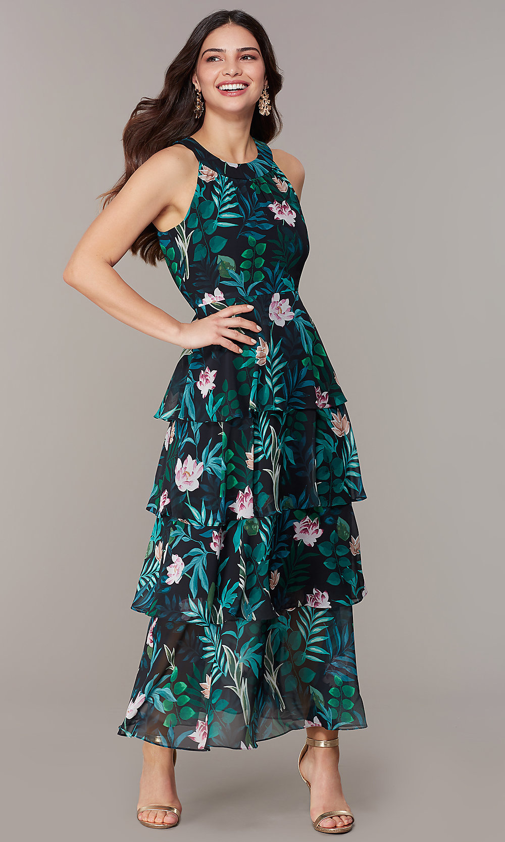 Floral Print Tiered Maxi Wedding Guest Party Dress