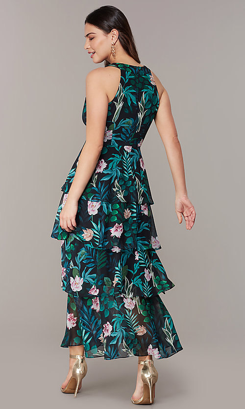 Image of floral-print tiered maxi wedding-guest party dress. Style: IT-9171315 Back Image