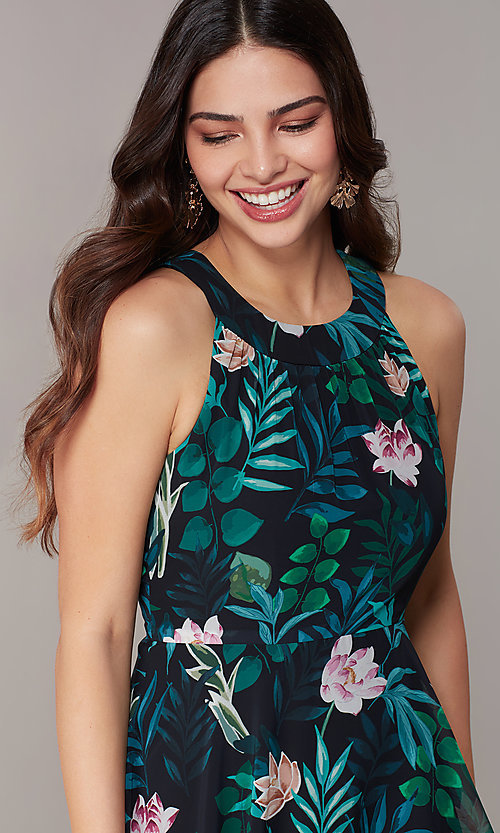 Image of floral-print tiered maxi wedding-guest party dress. Style: IT-9171315 Detail Image 1