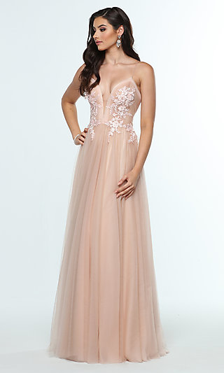 A-Line Sleeveless Formal Gown with Embroidery