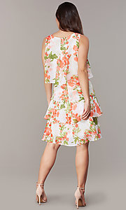 Image of short floral-print shift wedding-guest party dress. Style: IT-9171364 Back Image