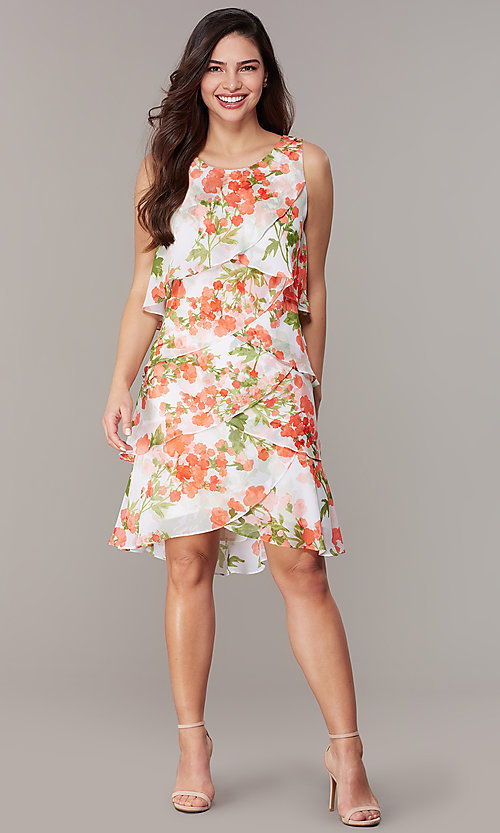 Image of short floral-print shift wedding-guest party dress. Style: IT-9171364 Front Image