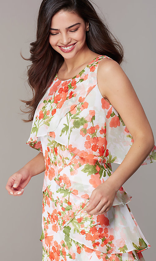 Image of short floral-print shift wedding-guest party dress. Style: IT-9171364 Detail Image 1