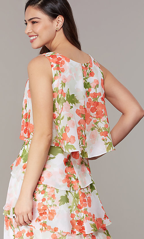 Image of short floral-print shift wedding-guest party dress. Style: IT-9171364 Detail Image 2