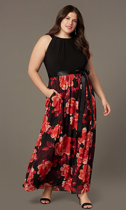 Image of floral-print long plus-size wedding-guest dress. Style: IT-9477192 Front Image