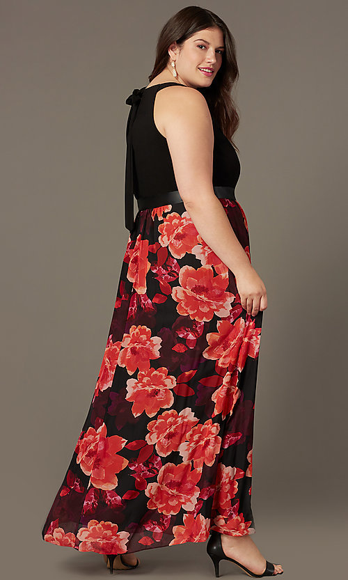 Image of floral-print long plus-size wedding-guest dress. Style: IT-9477192 Back Image