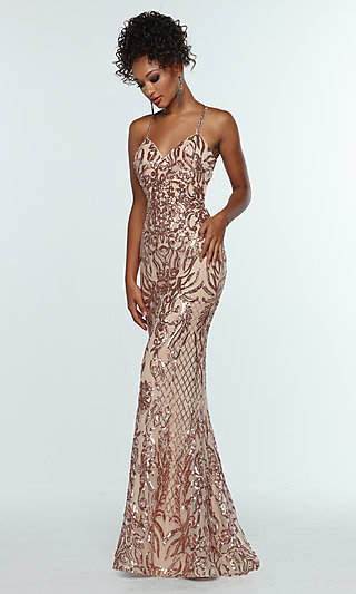 Long V-Neck Sequin Formal Gown with Spaghetti Straps