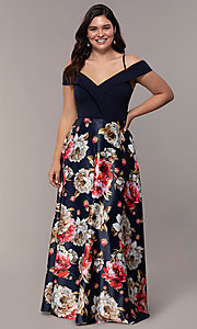 Image of print-skirt long navy plus formal dress by Simply. Style: MCR-SD-2563 Front Image