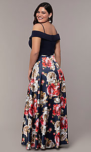 Image of print-skirt long navy plus formal dress by Simply. Style: MCR-SD-2563 Back Image