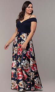 Image of print-skirt long navy plus formal dress by Simply. Style: MCR-SD-2563 Detail Image 3