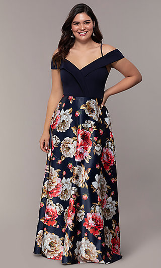Print-Skirt Long Navy Plus Formal Dress by Simply