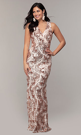 b01731f5d73 Long Sequin Rose Gold Formal Prom Dress by Simply