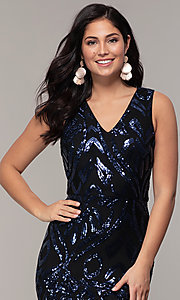 Image of navy blue long formal v-neck sequin dress by Simply. Style: MCR-SD-2018 Detail Image 1