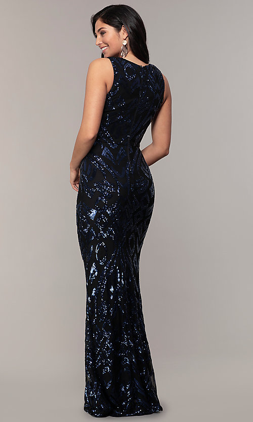 Image of navy blue long formal v-neck sequin dress by Simply. Style: MCR-SD-2018 Back Image