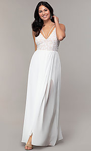 Image of sequin-bodice chiffon v-neck prom dress by Simply. Style: MCR-SD-2701 Detail Image 4