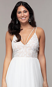 Image of sequin-bodice chiffon v-neck prom dress by Simply. Style: MCR-SD-2701 Detail Image 6