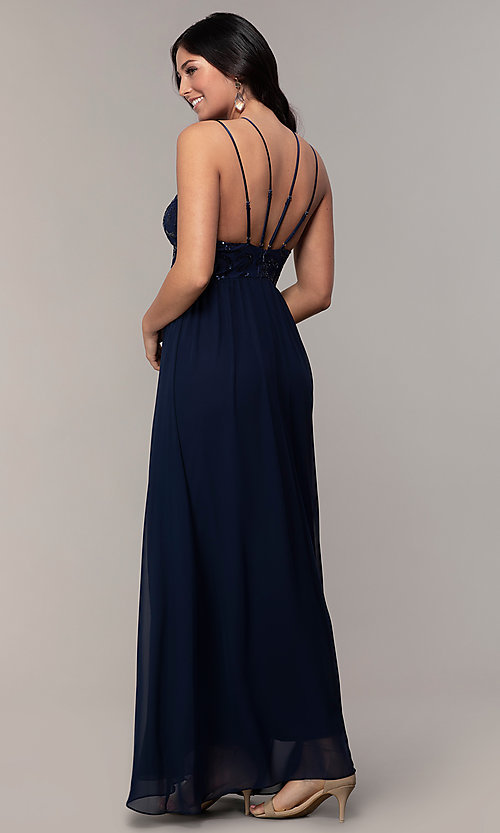 8e5d01c9a8ccb Image of sequin-bodice chiffon v-neck prom dress by Simply. Style: