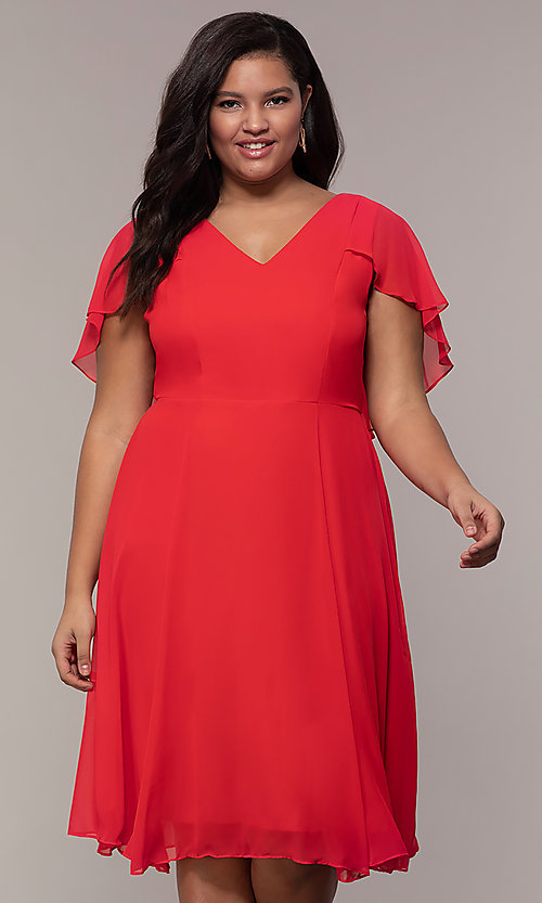 Plus-Size Short Wedding-Guest Dress with Capelet