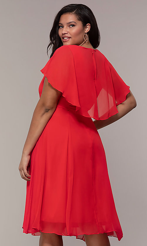 Image of plus-size short wedding-guest dress with capelet. Style: MCR-3024 Back Image