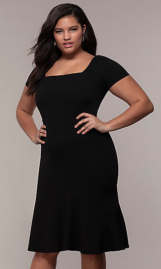 Short-Sleeve Plus-Size Short Wedding Guest Dress