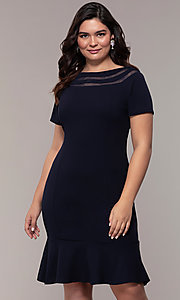 Image of short sheath wedding-guest plus-size dress. Style: MCR-3023 Front Image