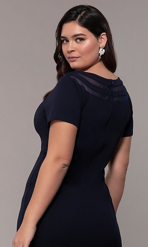 Image of short sheath wedding-guest plus-size dress. Style: MCR-3023 Detail Image 2