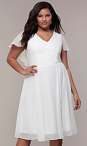 Image of knee-length plus-size party dress in white chiffon. Style: MCR-3024-I Front Image