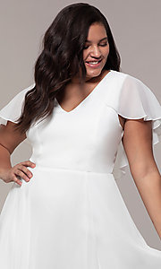 Image of knee-length plus-size party dress in white chiffon. Style: MCR-3024-I Detail Image 1