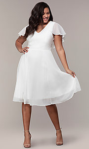 Image of knee-length plus-size party dress in white chiffon. Style: MCR-3024-I Detail Image 3