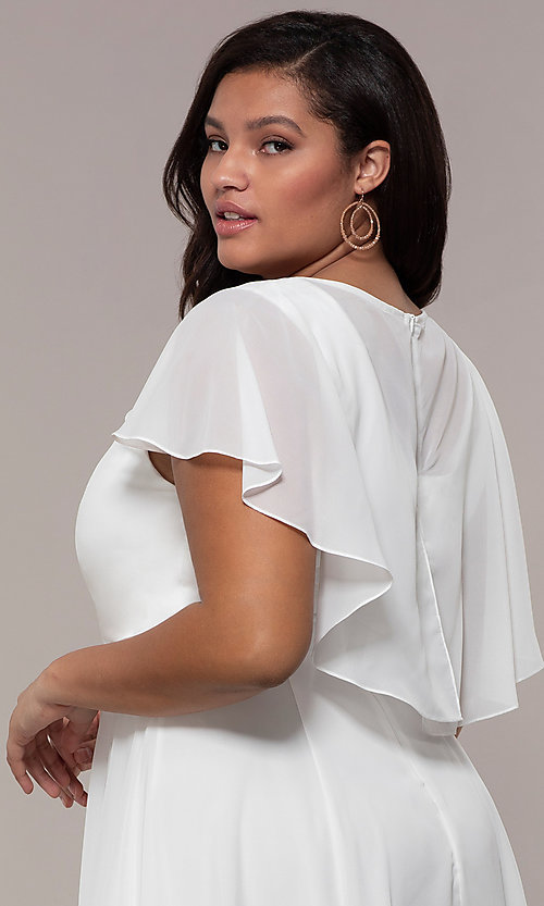 Image of knee-length plus-size party dress in white chiffon. Style: MCR-3024-I Detail Image 2