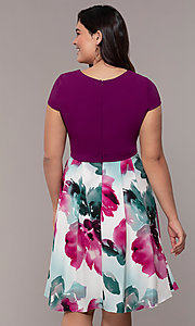 Image of knee-length print-skirt wedding-guest party dress. Style: MCR-2531 Back Image