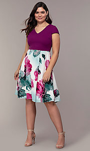 Image of knee-length print-skirt wedding-guest party dress. Style: MCR-2531 Detail Image 3